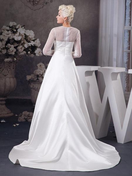 A-Line Wedding Dresses Jewel Neck Court Train Satin Tulle 3\4 Length Sleeve Illusion Sleeve_3