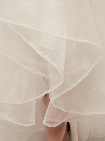 A-Line Wedding Dresses V Neck Asymmetrical Tulle Spaghetti Strap Simple Casual Little White Dress_13