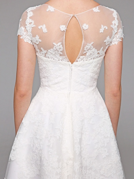 Ball Gown Wedding Dresses Bateau Neck Tea Length Lace Over Tulle Short Sleeve Formal Casual Illusion Detail Cute_13