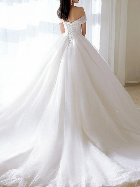 A-Line Wedding Dresses Off Shoulder Chapel Train Tulle Short Sleeve_3