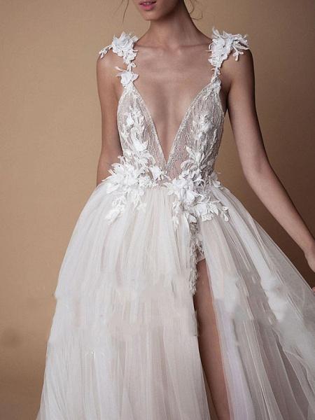 A-Line Wedding Dresses V Neck Floor Length Lace Tulle Cap Sleeve Formal Boho Plus Size_2