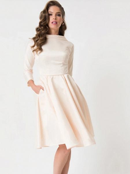 A-Line Wedding Dresses Jewel Neck Knee Length Charmeuse 3\4 Length Sleeve Vintage Little White Dress 1950s Cute_3