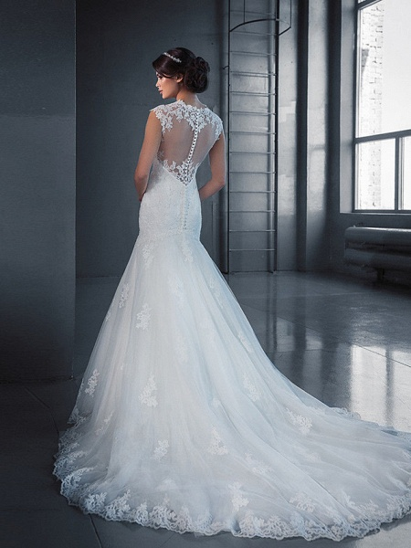 Mermaid \ Trumpet Wedding Dresses Jewel Neck Court Train Lace Tulle Sleeveless Formal_2