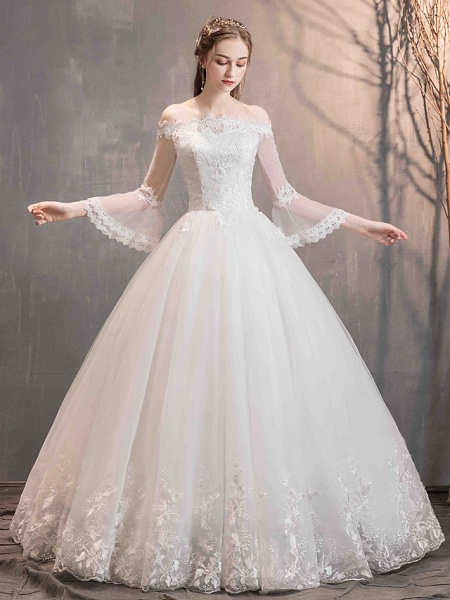 Ball Gown Wedding Dresses Off Shoulder Floor Length Lace Tulle Long Sleeve Romantic Illusion Sleeve_2