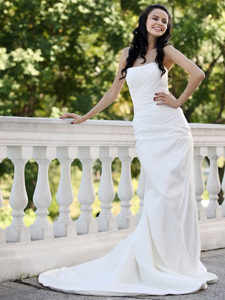 Mermaid \ Trumpet Wedding Dresses Strapless Court Train Taffeta Short Sleeve_3