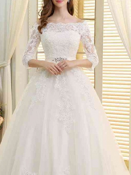A-Line Off Shoulder Sweep \ Brush Train Lace Tulle 3\4 Length Sleeve Formal Wedding Dresses_3