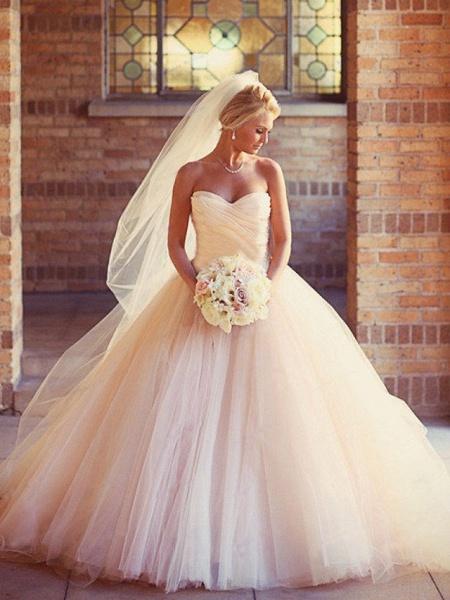 Ball Gown Wedding Dresses Strapless Court Train Tulle Strapless Formal Little White Dress_1