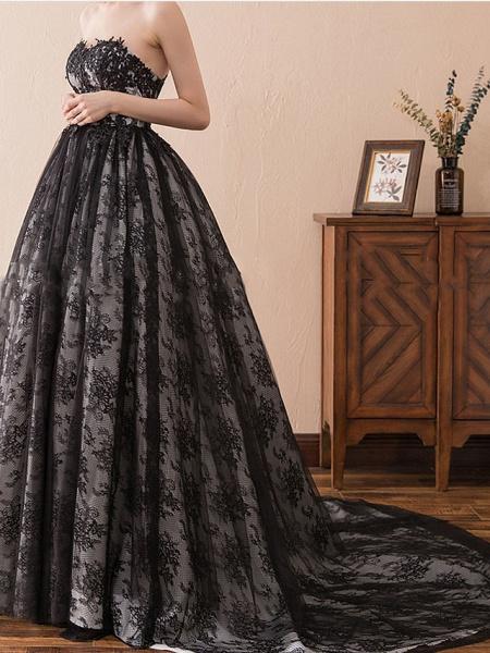 A-Line Strapless Sweep \ Brush Train Tulle Strapless Formal Black Modern Wedding Dresses_5