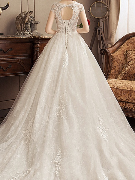 Ball Gown Jewel Neck Watteau Train Lace Tulle Polyester Short Sleeve Romantic Wedding Dresses_6