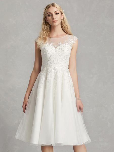 A-Line Wedding Dresses Jewel Neck Tea Length Lace Tulle Cap Sleeve Beautiful Back_5