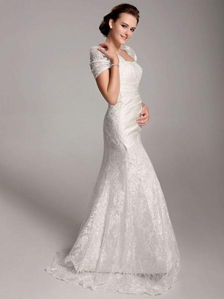 Mermaid \ Trumpet Wedding Dresses Straps Floor Length Lace Short Sleeve See-Through_3