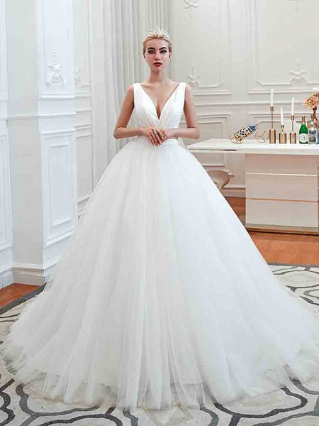 Ball Gown Wedding Dresses V Neck Court Train Tulle Regular Straps Simple Glamorous Backless_1