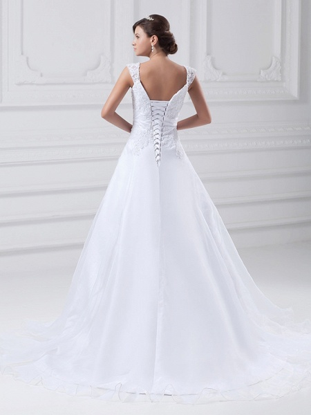 A-Line Wedding Dresses Square Neck Chapel Train Lace Organza Satin Regular Straps_4