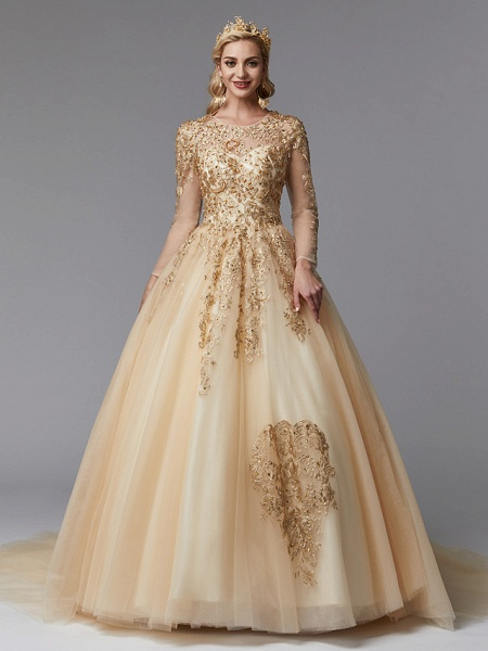 Ball Gown Wedding Dresses Jewel Neck Sweep \ Brush Train Lace Tulle Long Sleeve Glamorous See-Through Backless Modern_3