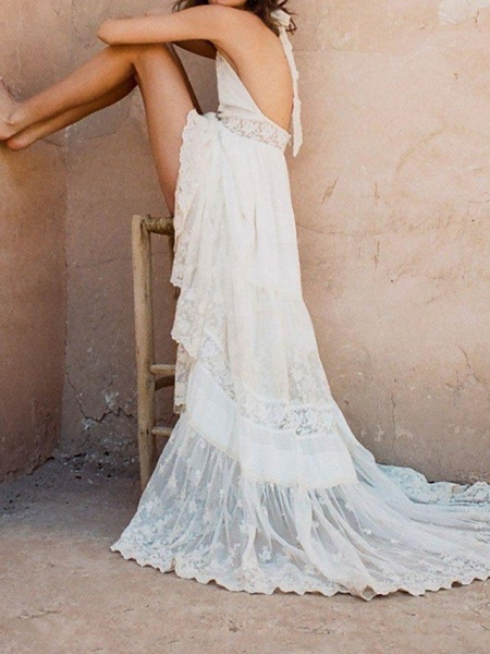 A-Line Wedding Dresses Halter Neck Sweep \ Brush Train Polyester Sleeveless Country Plus Size_3