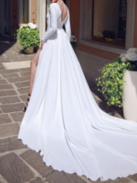Mermaid \ Trumpet Wedding Dresses V Neck Chapel Train Satin Long Sleeve_2