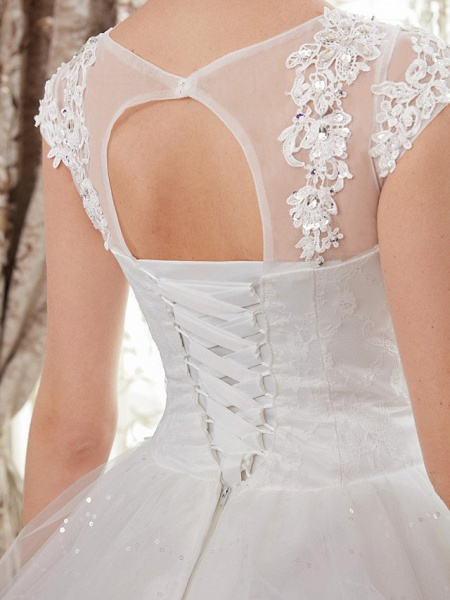 Ball Gown Wedding Dresses Jewel Neck Floor Length Lace Over Tulle Cap Sleeve Romantic Illusion Detail_9