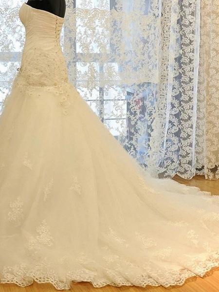Mermaid \ Trumpet Wedding Dresses Strapless Court Train Lace Organza Stretch Satin Sleeveless Formal_3