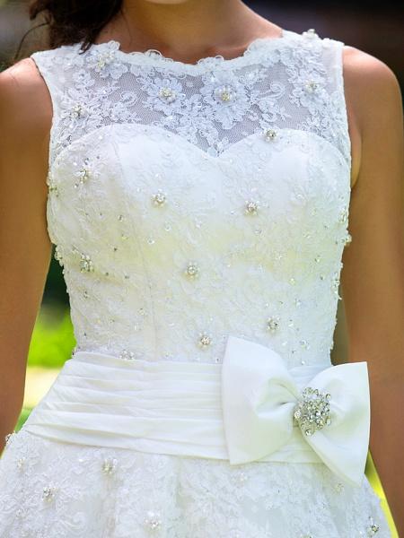 A-Line Wedding Dresses Bateau Neck Ankle Length Lace Regular Straps Little White Dress_7
