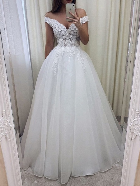 A-Line Wedding Dresses V Wire Sweep \ Brush Train Lace Tulle Short Sleeve Sexy See-Through_1