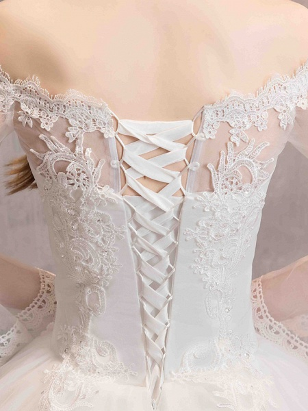 Ball Gown Wedding Dresses Off Shoulder Floor Length Lace Tulle Long Sleeve Romantic Illusion Sleeve_12