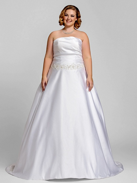 A-Line Wedding Dresses Strapless Court Train Satin Strapless Romantic Illusion Detail_2