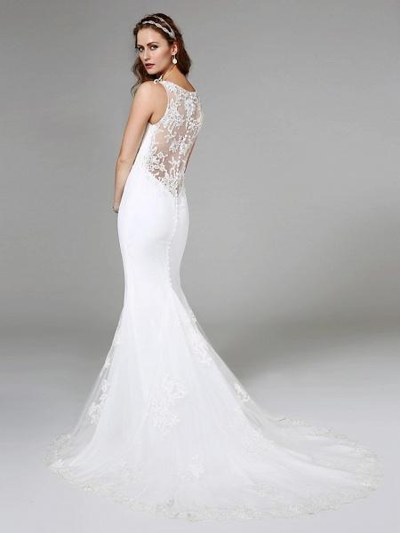 Mermaid \ Trumpet Wedding Dresses V Neck Sweep \ Brush Train Lace Regular Straps Boho Sexy See-Through Plus Size_2