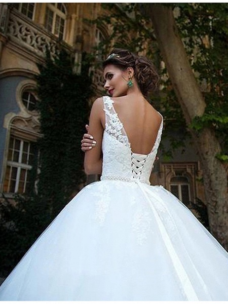 Ball Gown Wedding Dresses V Neck Court Train Lace Tulle Spaghetti Strap Country Illusion Detail Backless_6