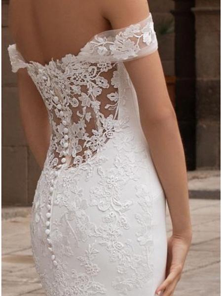 Mermaid \ Trumpet Wedding Dresses Off Shoulder Court Train Lace Cap Sleeve Plus Size_2