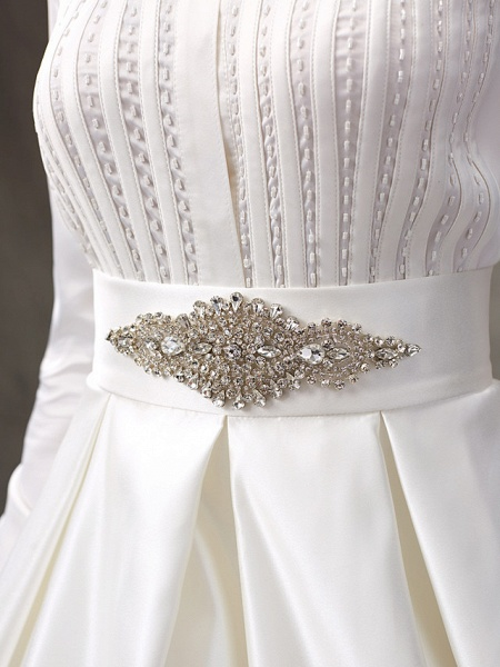Ball Gown Wedding Dresses High Neck Sweep \ Brush Train Satin Long Sleeve Glamorous Sparkle & Shine_11
