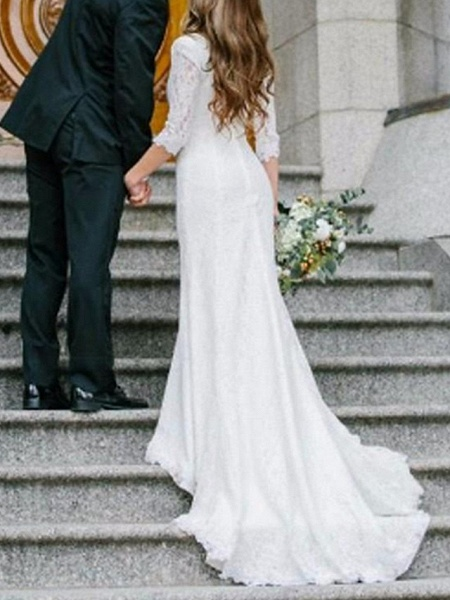 Sheath \ Column Wedding Dresses V Neck Sweep \ Brush Train Chiffon Lace 3\4 Length Sleeve Romantic Simple Elegant_2