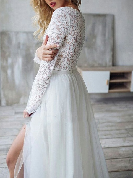 A-Line Wedding Dresses Jewel Neck Sweep \ Brush Train Lace Long Sleeve Romantic Boho See-Through Illusion Detail Backless_4