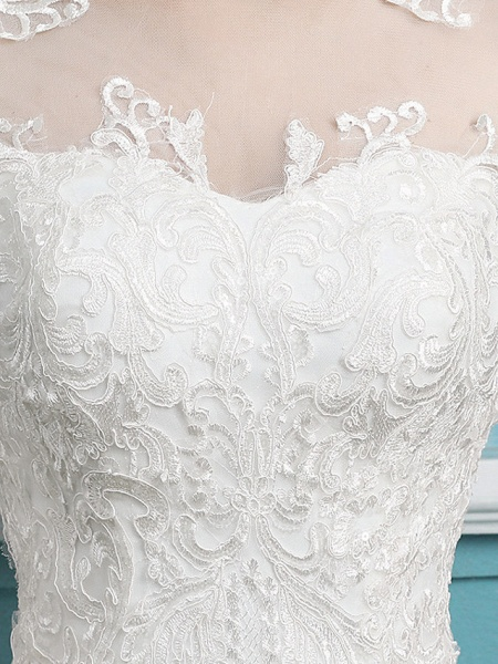 Mermaid \ Trumpet Wedding Dresses Jewel Neck Court Train Lace Tulle Polyester Long Sleeve Sexy Illusion Sleeve_4