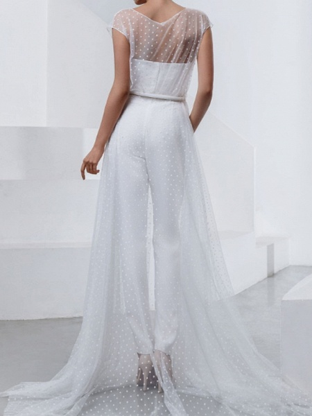 Two Piece Jumpsuits Wedding Dresses Strapless Sweep \ Brush Train Lace Stretch Satin Short Sleeve Country Plus Size_2