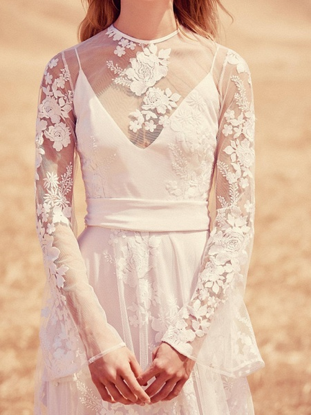 A-Line Jewel Neck Sweep \ Brush Train Lace Long Sleeve Beach Illusion Sleeve Wedding Dresses_2