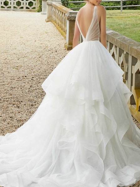 Ball Gown V Neck Sweep \ Brush Train Organza Sequined Sleeveless Sexy See-Through Wedding Dresses_3