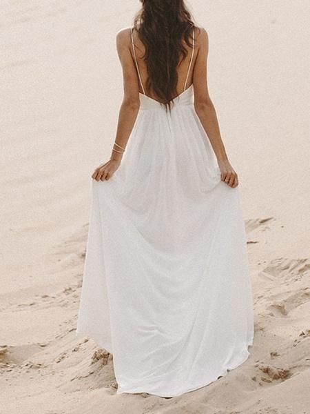 A-Line Wedding Dresses V Neck Sweep \ Brush Train Lace Sleeveless Formal_2