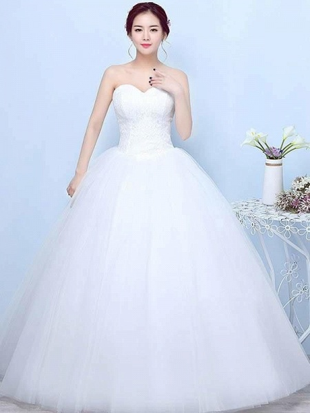 Simple Generous Lace Strapless off White Fashion Sexy Wedding Dresses_1