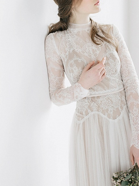 A-Line Wedding Dresses High Neck Sweep \ Brush Train Tulle Long Sleeve Casual Boho See-Through Illusion Sleeve_3