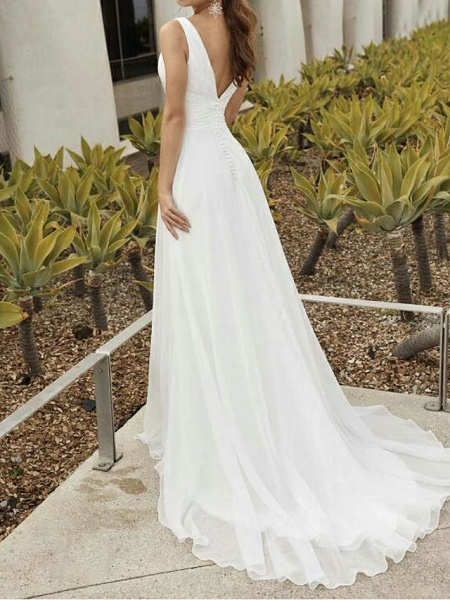 A-Line Wedding Dresses V Neck Sweep \ Brush Train Chiffon Sleeveless Romantic_2