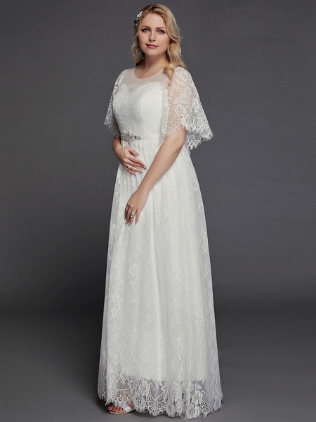 A-Line Wedding Dresses Illusion Neck Jewel Neck Floor Length Lace Tulle Half Sleeve Formal Boho Little White Dress See-Through_4