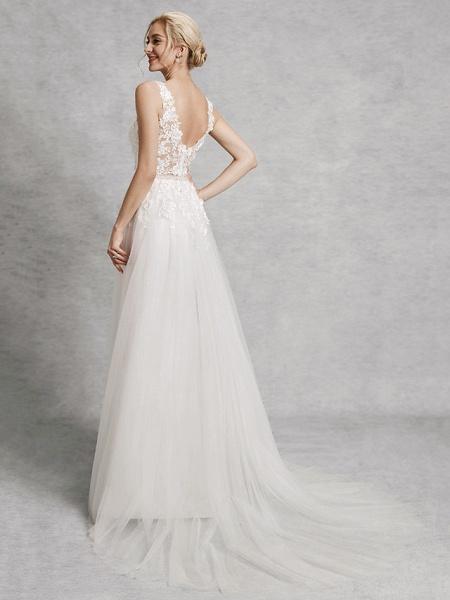 A-Line Wedding Dresses V Neck Court Train Lace Satin Tulle Regular Straps Romantic Illusion Detail Backless_2