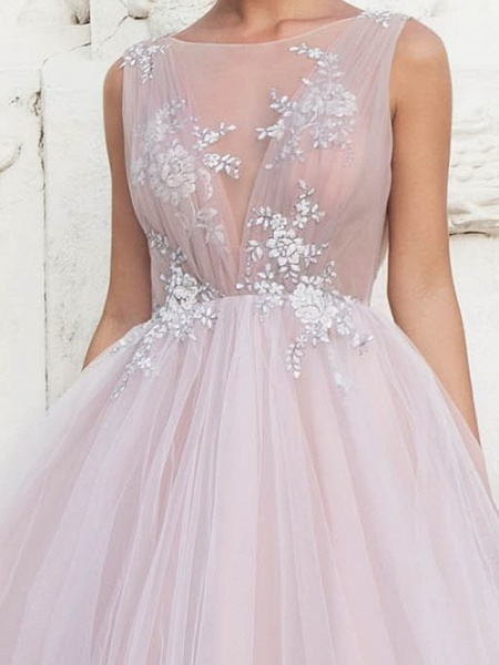 A-Line Wedding Dresses Jewel Neck Sweep \ Brush Train Tulle Polyester Sleeveless Country Plus Size_3