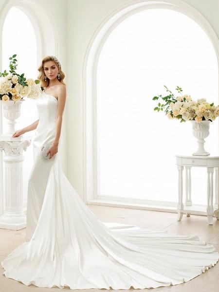 Mermaid \ Trumpet Wedding Dresses One Shoulder Sweep \ Brush Train Stretch Satin Regular Straps Simple Sexy Modern Elegant_3