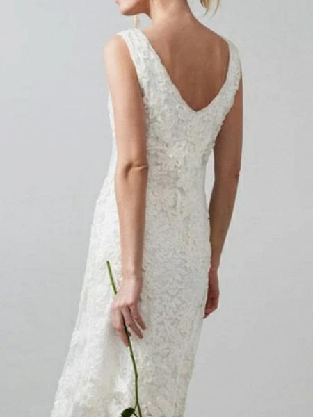 Sheath \ Column Wedding Dresses V Neck Knee Length Lace Regular Straps Casual Little White Dress Illusion Detail_2