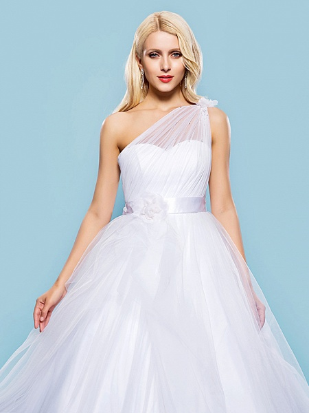 Ball Gown Wedding Dresses One Shoulder Court Train Tulle Sleeveless_5