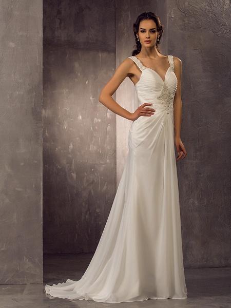 Sheath \ Column Wedding Dresses Sweetheart Neckline Sweep \ Brush Train Chiffon Regular Straps_3