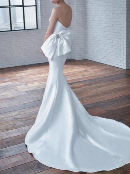 Mermaid \ Trumpet Wedding Dresses Sweetheart Neckline Court Train Stretch Satin Strapless Modern Elegant_2