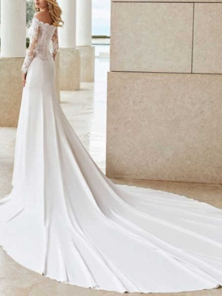 Mermaid \ Trumpet Wedding Dresses Off Shoulder Court Train Lace Satin Long Sleeve Country See-Through Illusion Sleeve_2