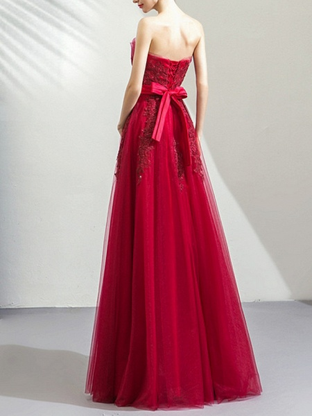 A-Line Wedding Dresses Strapless Floor Length Tulle Strapless Romantic Plus Size Red_3